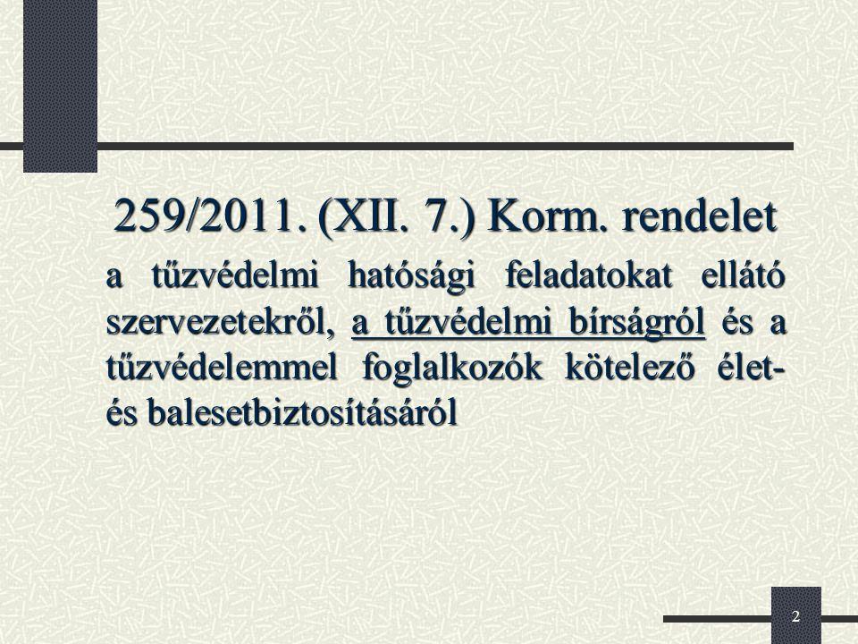 2 259/2011. (XII. 7.) Korm. rendelet a tűzvédelmi hatósági feladatokat ellátó szervezetekről, a tűzvédelmi bírságról és a tűzvédelemmel foglalkozók kö
