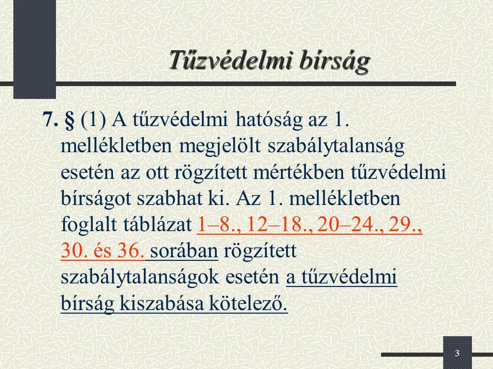 3 Tűzvédelmi bírság 7. § (1) A tűzvédelmi hatóság az 1. mellékletben megjelölt szabálytalanság esetén az ott rögzített mértékben tűzvédelmi bírságot s