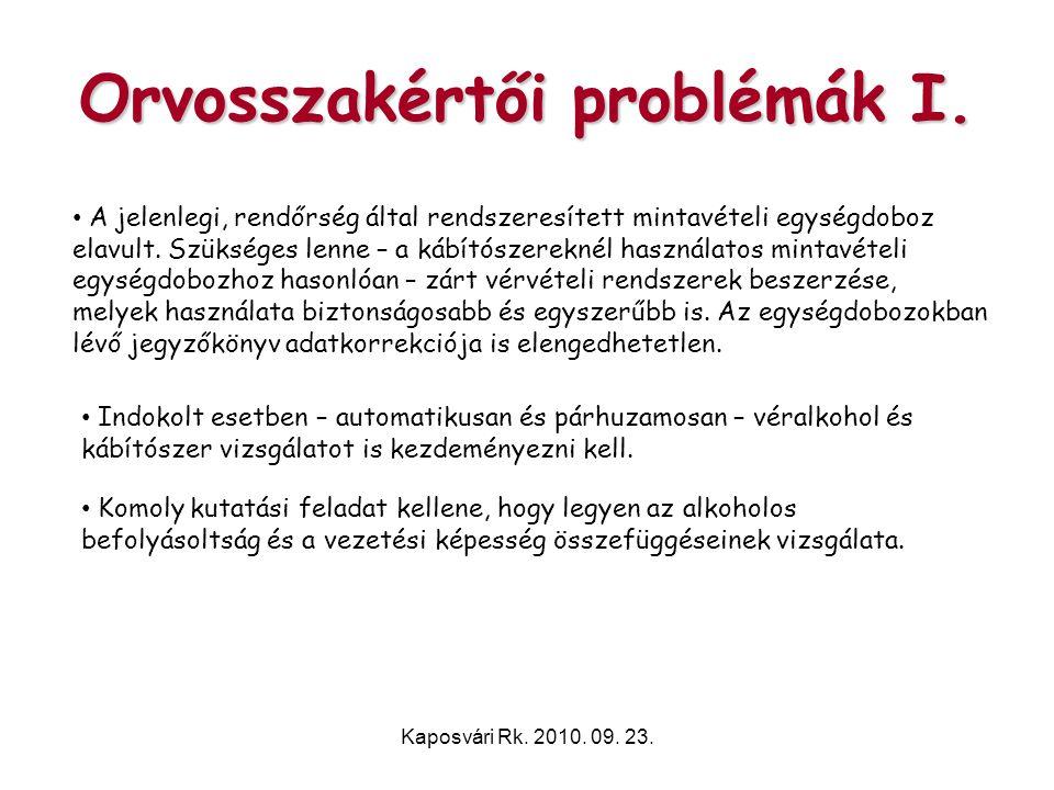 Kaposvári Rk. 2010. 09. 23. Orvosszakértői problémák I. • A jelenlegi, rendőrség által rendszeresített mintavételi egységdoboz elavult. Szükséges lenn