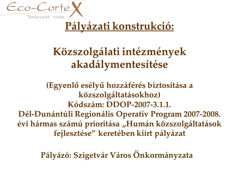 Pályázati konstrukció: Közszolgálati intézmények akadálymentesítése (Egyenlő esélyű hozzáférés biztosítása a közszolgáltatásokhoz) Kódszám: DDOP-2007-3.1.1.