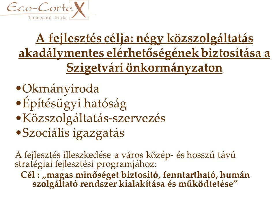 """A fejlesztés célja: négy közszolgáltatás akadálymentes elérhetőségének biztosítása a Szigetvári önkormányzaton •Okmányiroda •Építésügyi hatóság •Közszolgáltatás-szervezés •Szociális igazgatás A fejlesztés illeszkedése a város közép- és hosszú távú stratégiai fejlesztési programjához: Cél : """"magas minőséget biztosító, fenntartható, humán szolgáltató rendszer kialakítása és működtetése"""