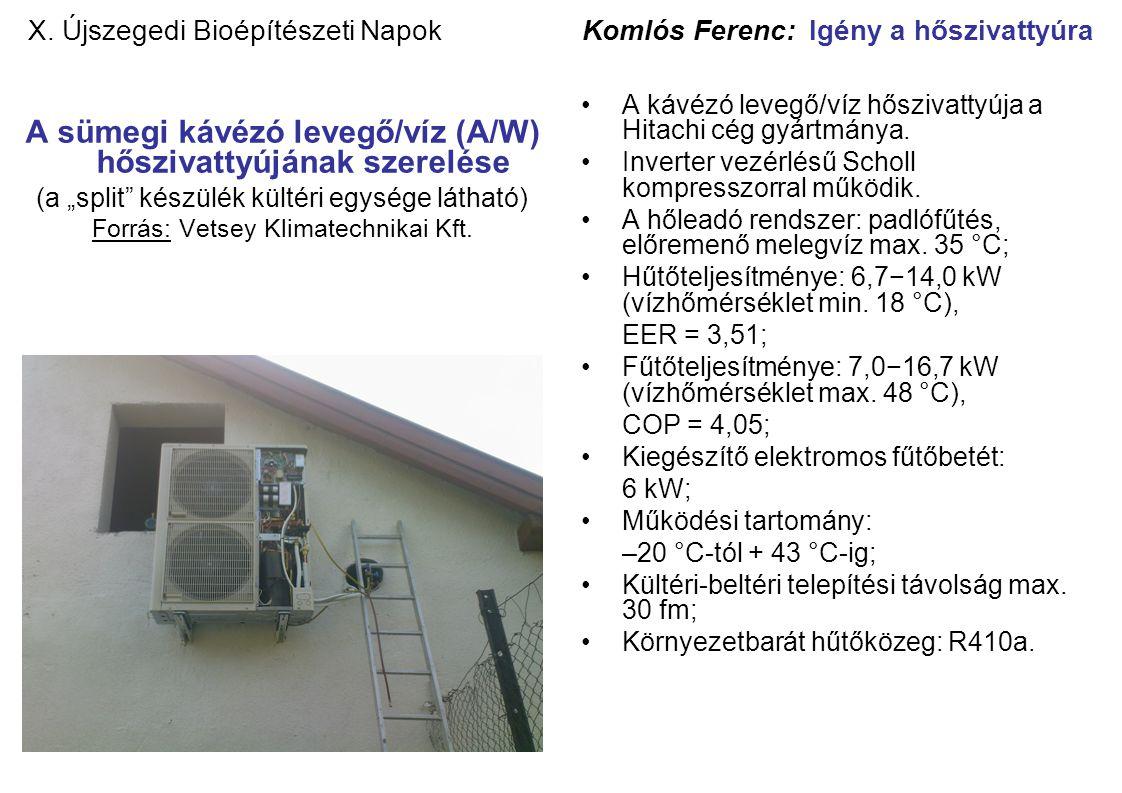 """X. Újszegedi Bioépítészeti Napok Komlós Ferenc: Igény a hőszivattyúra A sümegi kávézó levegő/víz (A/W) hőszivattyújának szerelése (a """"split"""" készülék"""