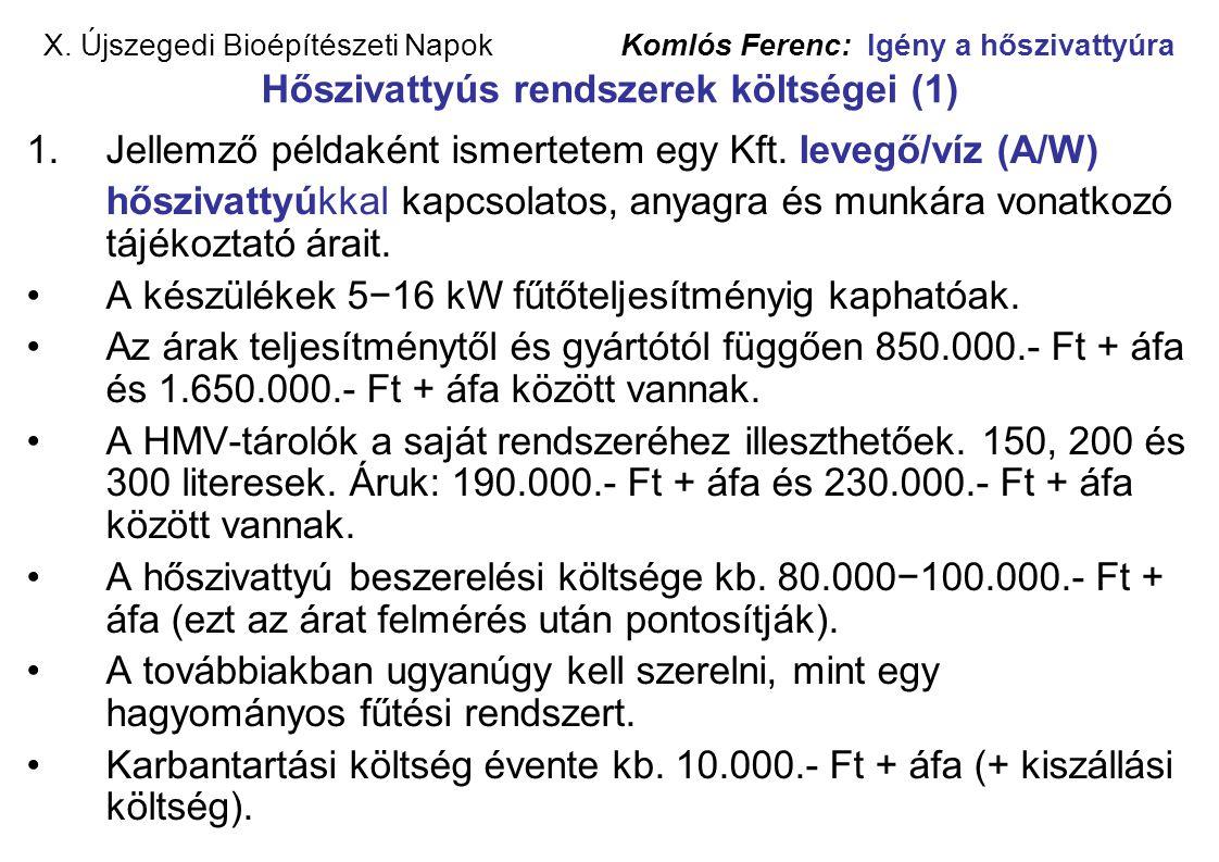 X. Újszegedi Bioépítészeti Napok Komlós Ferenc: Igény a hőszivattyúra Hőszivattyús rendszerek költségei (1) 1.Jellemző példaként ismertetem egy Kft. l