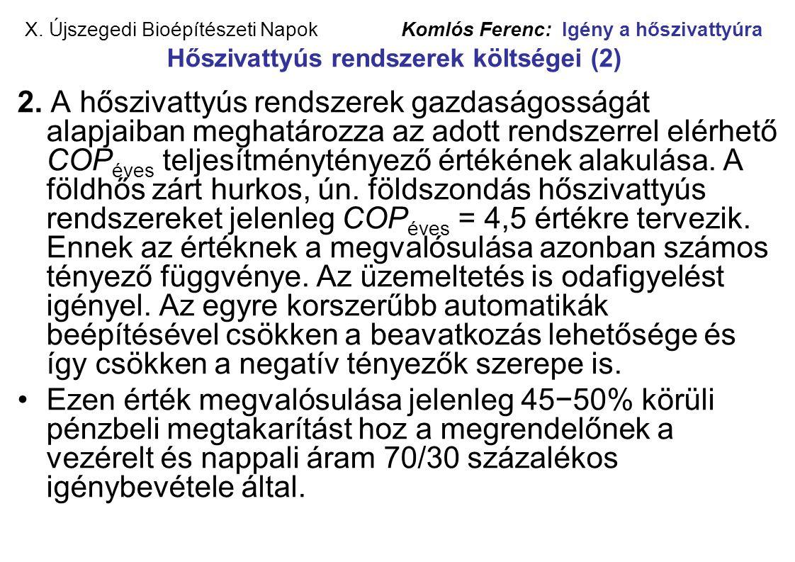 X. Újszegedi Bioépítészeti Napok Komlós Ferenc: Igény a hőszivattyúra Hőszivattyús rendszerek költségei (2) 2. A hőszivattyús rendszerek gazdaságosság