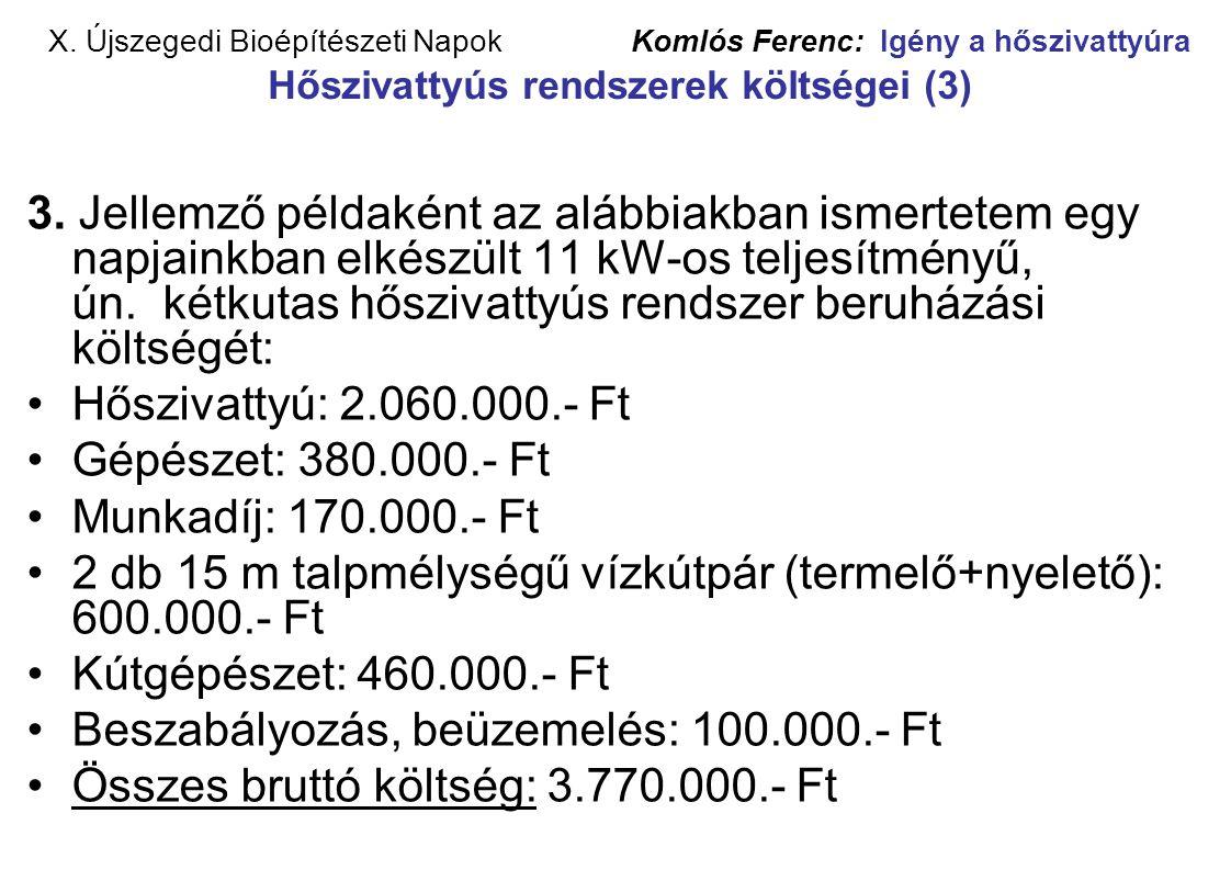 X. Újszegedi Bioépítészeti Napok Komlós Ferenc: Igény a hőszivattyúra Hőszivattyús rendszerek költségei (3) 3. Jellemző példaként az alábbiakban ismer