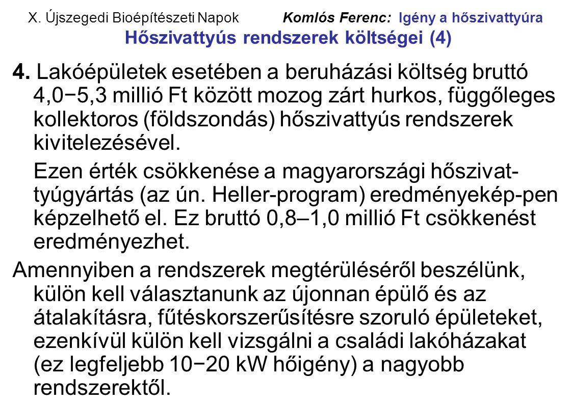 X. Újszegedi Bioépítészeti Napok Komlós Ferenc: Igény a hőszivattyúra Hőszivattyús rendszerek költségei (4) 4. Lakóépületek esetében a beruházási költ