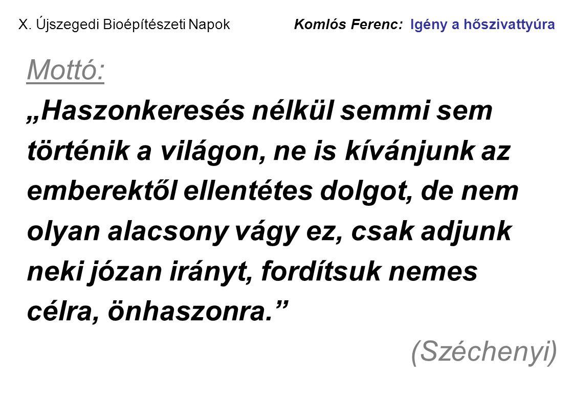 """X. Újszegedi Bioépítészeti Napok Komlós Ferenc: Igény a hőszivattyúra Mottó: """"Haszonkeresés nélkül semmi sem történik a világon, ne is kívánjunk az em"""