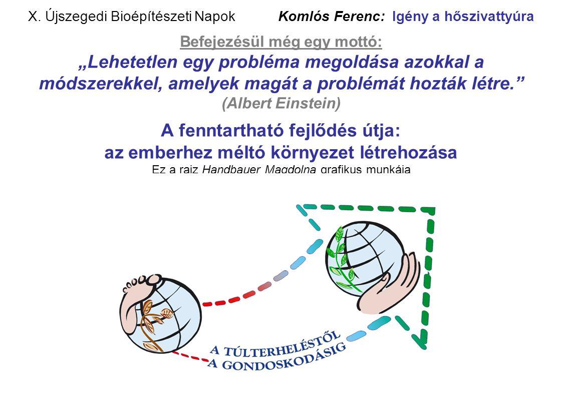 """X. Újszegedi Bioépítészeti Napok Komlós Ferenc: Igény a hőszivattyúra Befejezésül még egy mottó: """"Lehetetlen egy probléma megoldása azokkal a módszere"""