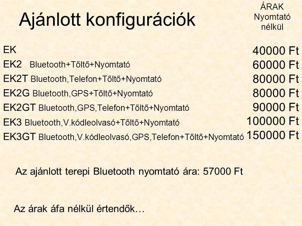 Ajánlott konfigurációk EK EK2 Bluetooth+Tőltő+Nyomtató EK2T Bluetooth,Telefon+Tőltő+Nyomtató EK2G Bluetooth,GPS+Tőltő+Nyomtató EK2GT Bluetooth,GPS,Tel