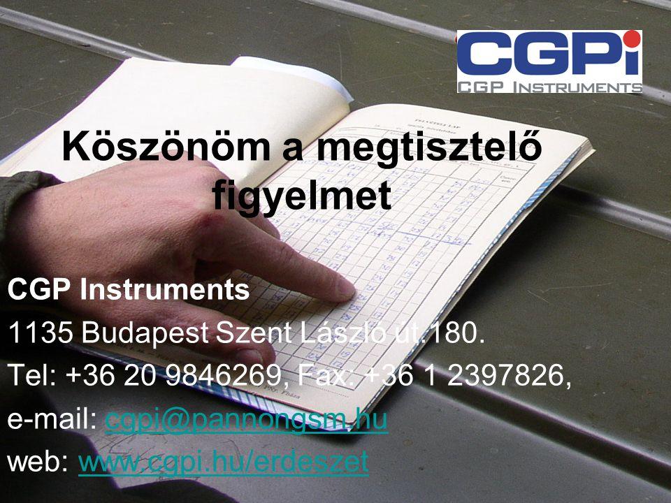 Köszönöm a megtisztelő figyelmet CGP Instruments 1135 Budapest Szent László út.180. Tel: +36 20 9846269, Fax: +36 1 2397826, e-mail: cgpi@pannongsm.hu