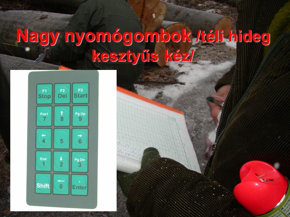 Nagy nyomógombok /téli hideg kesztyűs kéz/