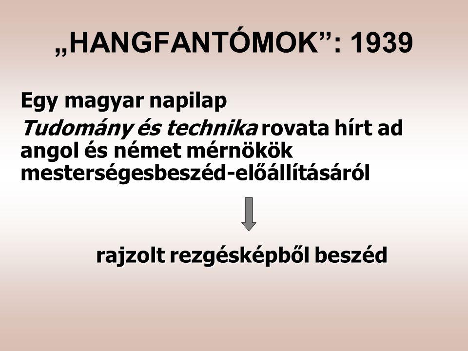 """Egy magyar napilap Tudomány és technika rovata hírt ad angol és német mérnökök mesterségesbeszéd-előállításáról rajzolt rezgésképből beszéd """"HANGFANTÓMOK : 1939"""
