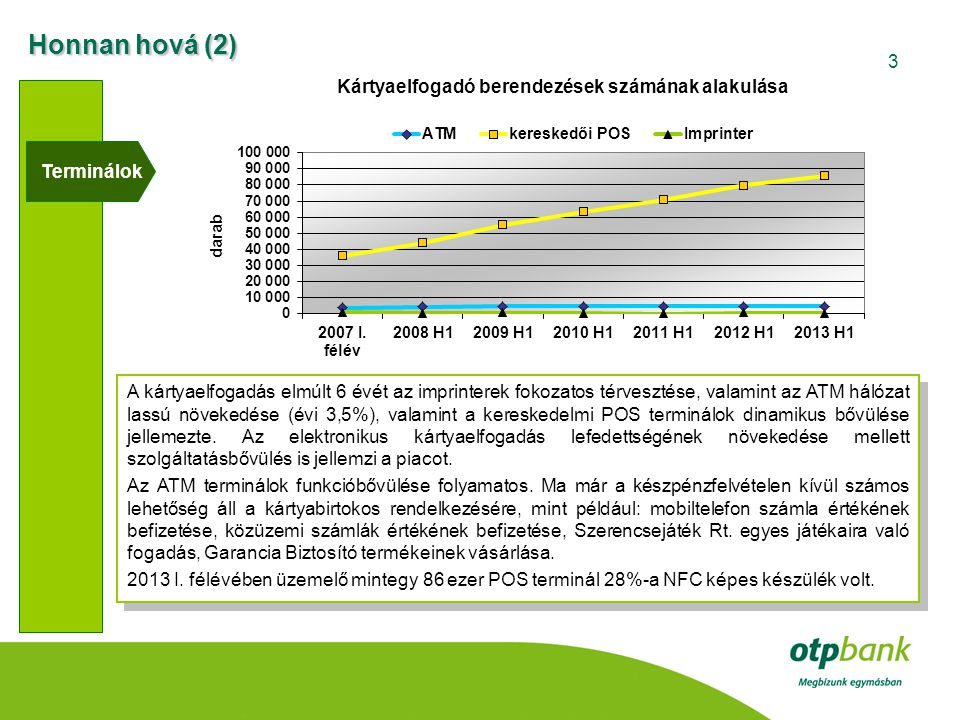3 Terminálok A kártyaelfogadás elmúlt 6 évét az imprinterek fokozatos térvesztése, valamint az ATM hálózat lassú növekedése (évi 3,5%), valamint a ker