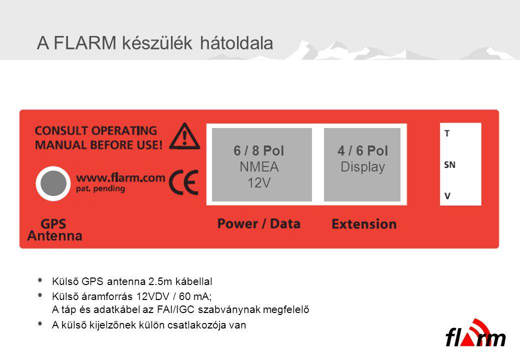A FLARM készülék hátoldala 6 / 8 Pol NMEA 12V 4 / 6 Pol Display Antenna  Külső GPS antenna 2.5m kábellal  Külső áramforrás 12VDV / 60 mA; A táp és a
