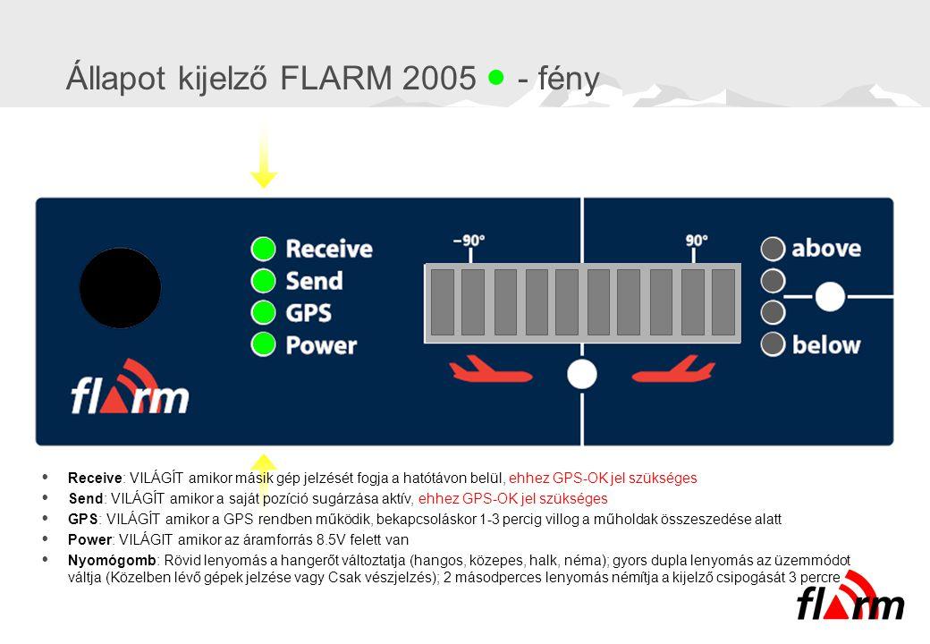 Állapot kijelző FLARM 2005  - fény  Receive: VILÁGÍT amikor másik gép jelzését fogja a hatótávon belül, ehhez GPS-OK jel szükséges  Send: VILÁGÍT a