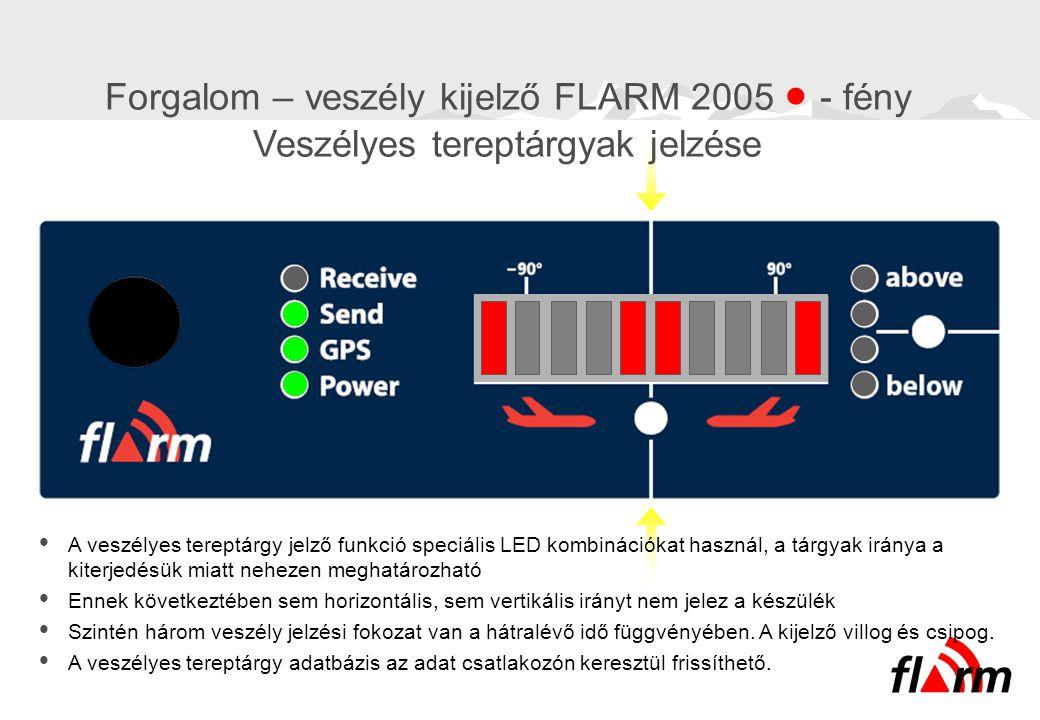  A veszélyes tereptárgy jelző funkció speciális LED kombinációkat használ, a tárgyak iránya a kiterjedésük miatt nehezen meghatározható  Ennek követ