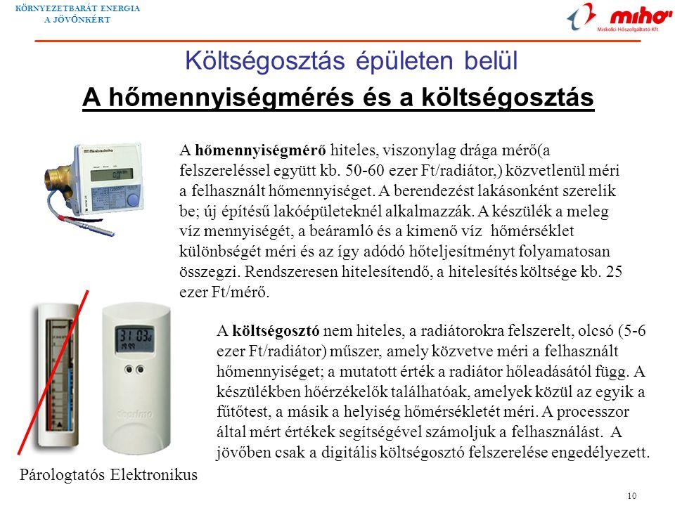 KÖRNYEZETBARÁT ENERGIA A JÖV Ő NKÉRT 10 A hőmennyiségmérés és a költségosztás A hőmennyiségmérő hiteles, viszonylag drága mérő(a felszereléssel együtt