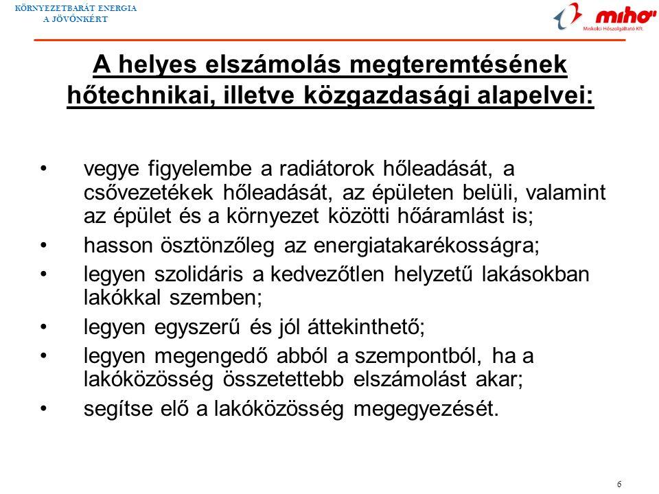 KÖRNYEZETBARÁT ENERGIA A JÖV Ő NKÉRT 6 A helyes elszámolás megteremtésének hőtechnikai, illetve közgazdasági alapelvei: •vegye figyelembe a radiátorok