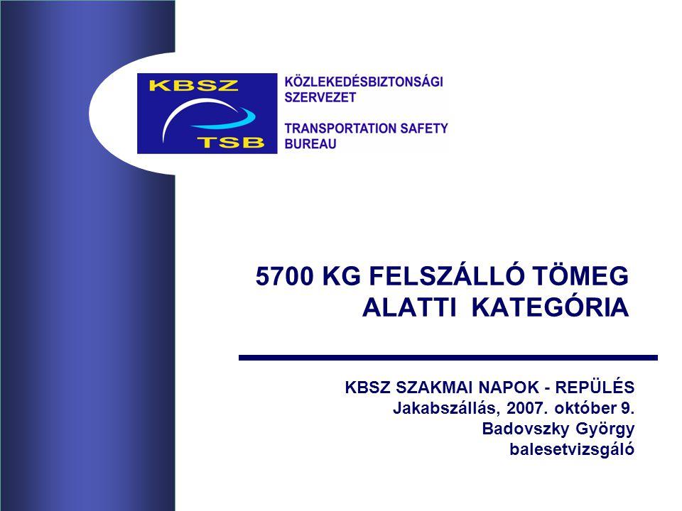 5700 KG FELSZÁLLÓ TÖMEG ALATTI KATEGÓRIA KBSZ SZAKMAI NAPOK - REPÜLÉS Jakabszállás, 2007.