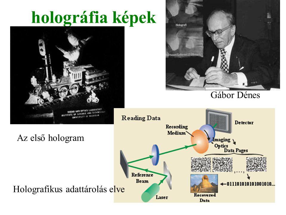 holográfia képek Az első hologram Holografikus adattárolás elve Gábor Dénes