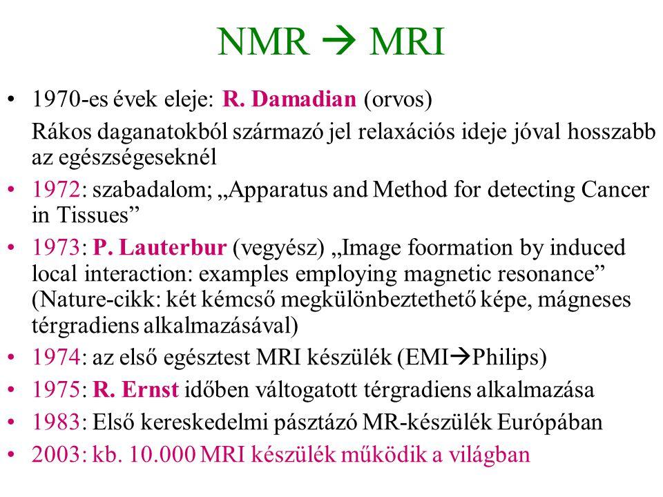 NMR  MRI •1970-es évek eleje: R. Damadian (orvos) Rákos daganatokból származó jel relaxációs ideje jóval hosszabb az egészségeseknél •1972: szabadalo