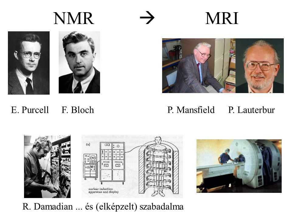 NMR  MRI E. PurcellF. Bloch P. Mansfield P. Lauterbur R. Damadian... és (elképzelt) szabadalma