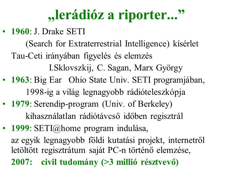 """""""lerádióz a riporter..."""" •1960: J. Drake SETI (Search for Extraterrestrial Intelligence) kísérlet Tau-Ceti irányában figyelés és elemzés I.Sklovszkij,"""