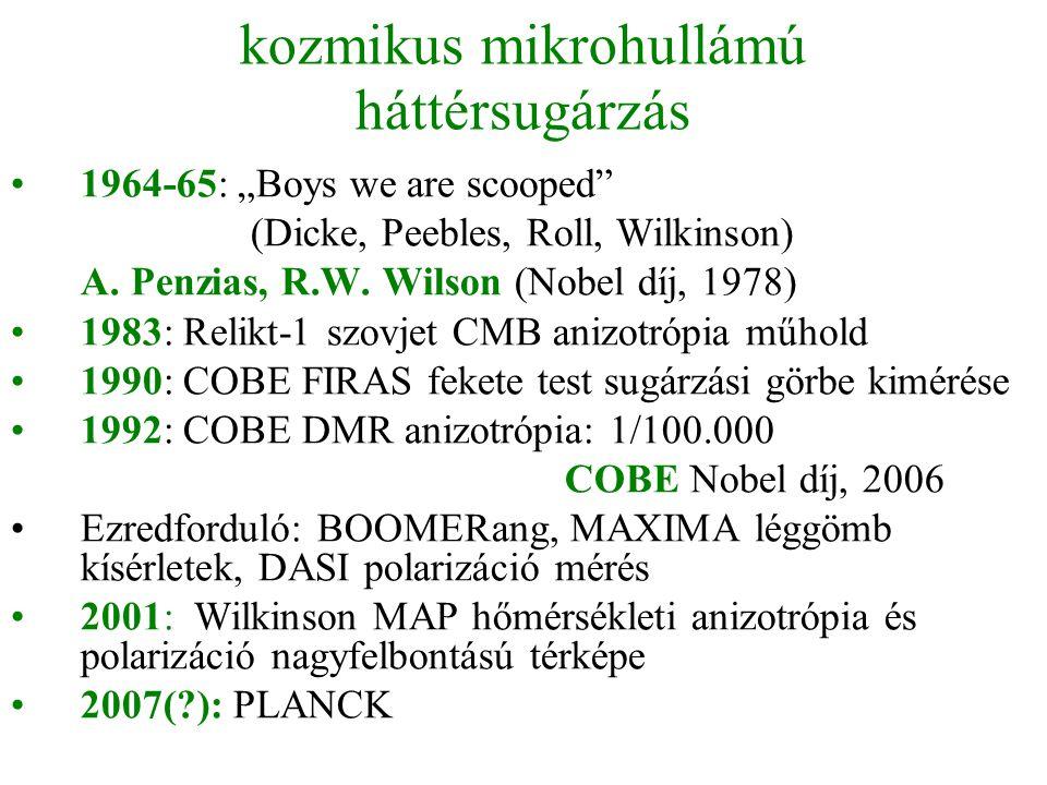 """kozmikus mikrohullámú háttérsugárzás •1964-65: """"Boys we are scooped"""" (Dicke, Peebles, Roll, Wilkinson) A. Penzias, R.W. Wilson (Nobel díj, 1978) •1983"""