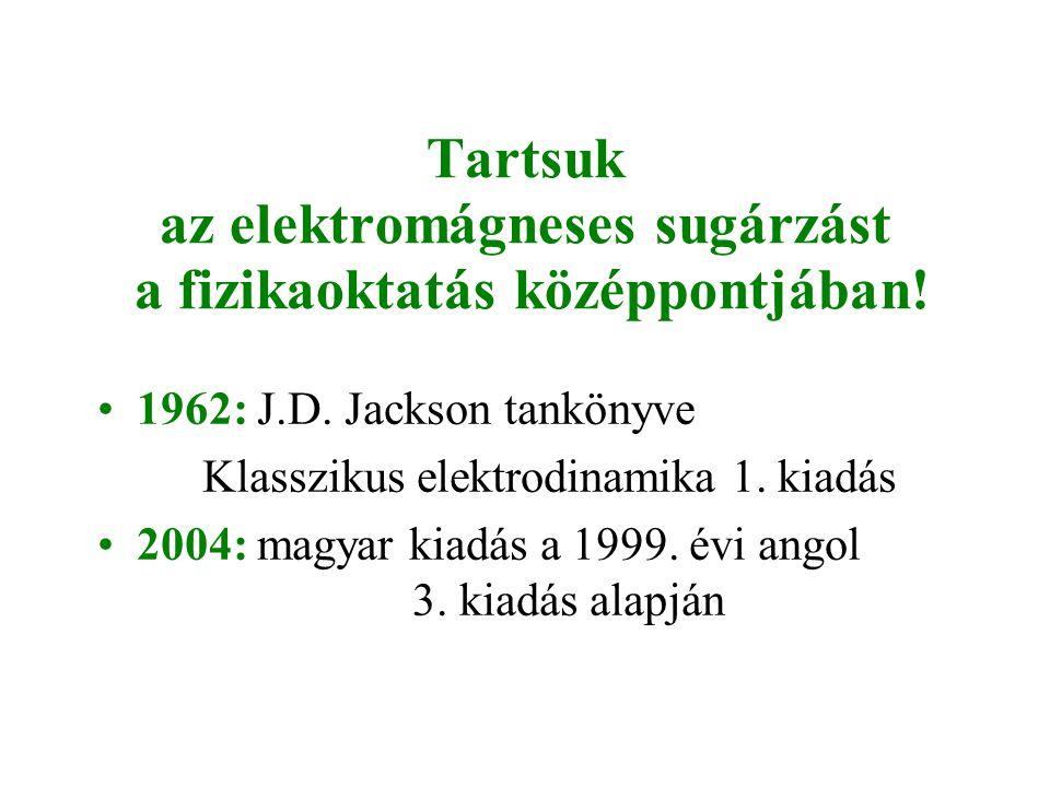 Tartsuk az elektromágneses sugárzást a fizikaoktatás középpontjában! •1962: J.D. Jackson tankönyve Klasszikus elektrodinamika 1. kiadás •2004: magyar