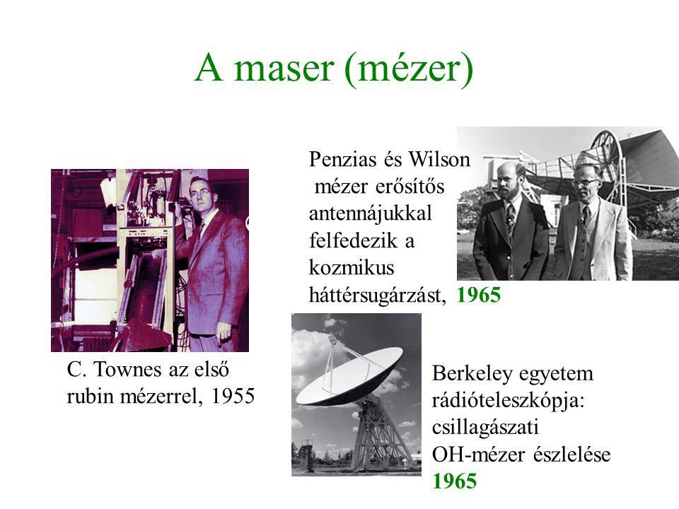 A maser (mézer) C. Townes az első rubin mézerrel, 1955 Penzias és Wilson mézer erősítős antennájukkal felfedezik a kozmikus háttérsugárzást, 1965 Berk