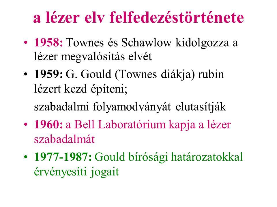 a lézer elv felfedezéstörténete •1958: Townes és Schawlow kidolgozza a lézer megvalósítás elvét •1959: G. Gould (Townes diákja) rubin lézert kezd épít