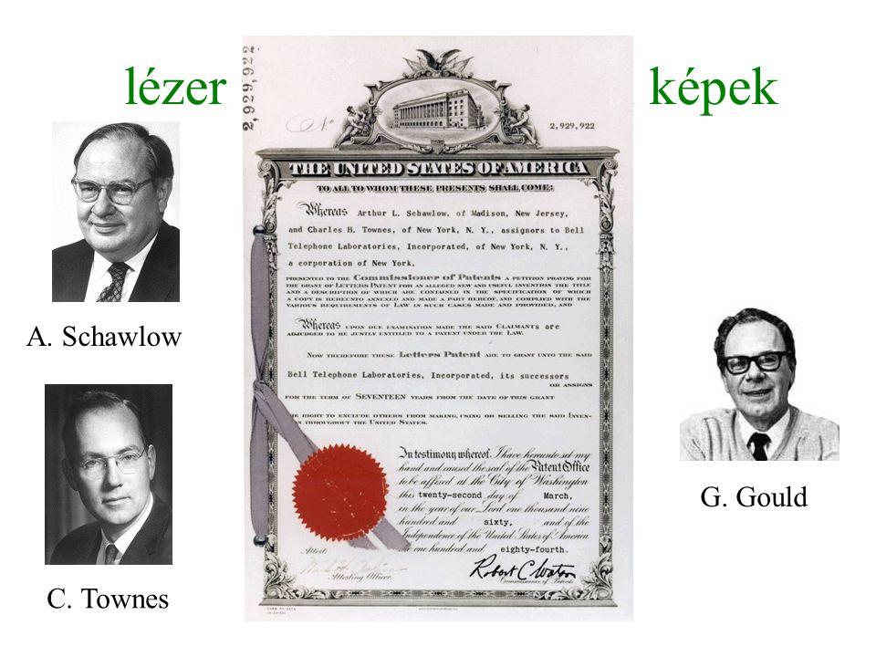 lézer felfedezéstörténeti képek A. Schawlow C. Townes G. Gould