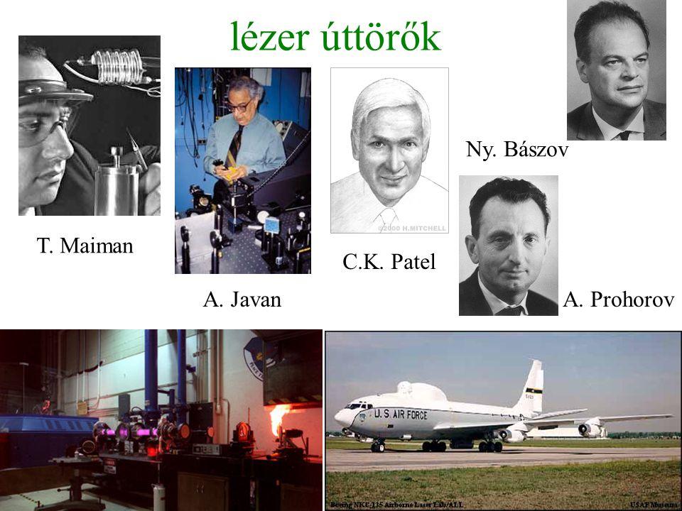 lézer úttörők Ny. Bászov A. Javan C.K. Patel A. Prohorov T. Maiman