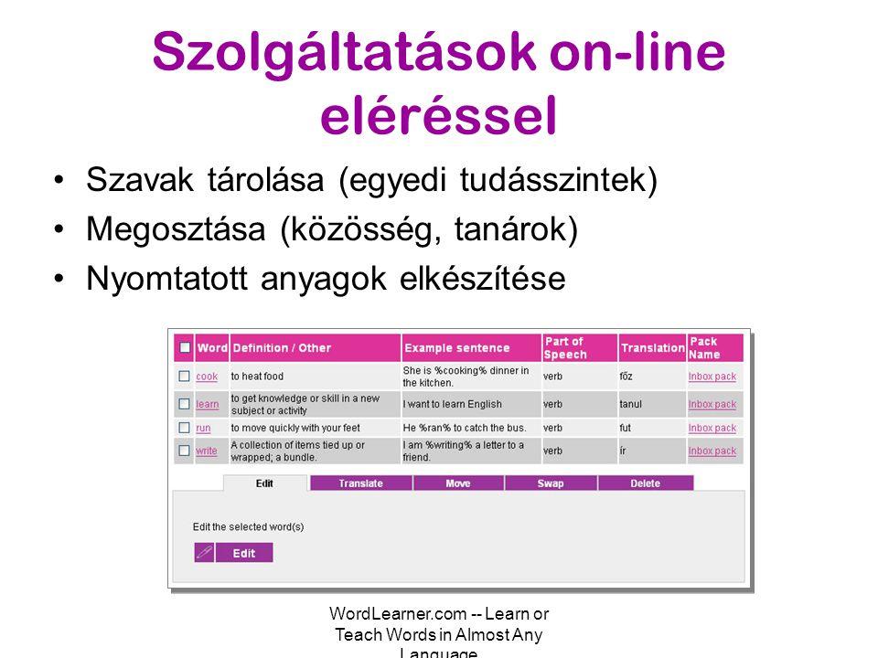 WordLearner.com -- Learn or Teach Words in Almost Any Language Szolgáltatások on-line eléréssel •Szavak gyűjtése (Toolbar) –Internet Explorer, Firefox •Tetszőleges szótár használatának támogatása