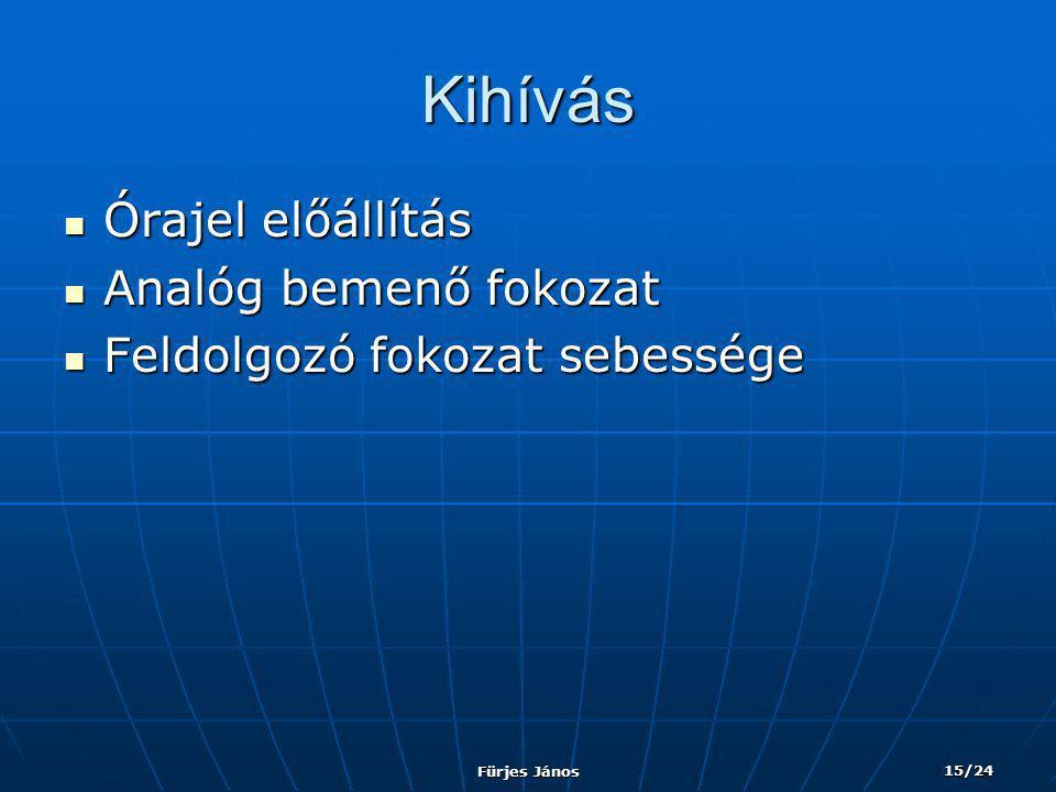Fürjes János 15/24 Kihívás  Órajel előállítás  Analóg bemenő fokozat  Feldolgozó fokozat sebessége