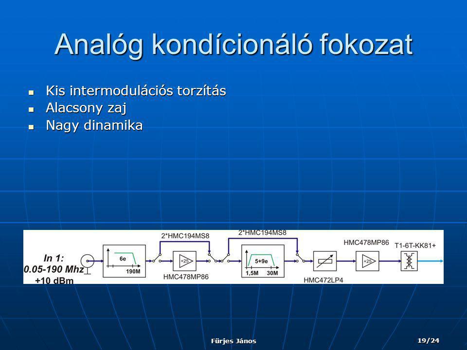 Fürjes János 19/24 Analóg kondícionáló fokozat  Kis intermodulációs torzítás  Alacsony zaj  Nagy dinamika