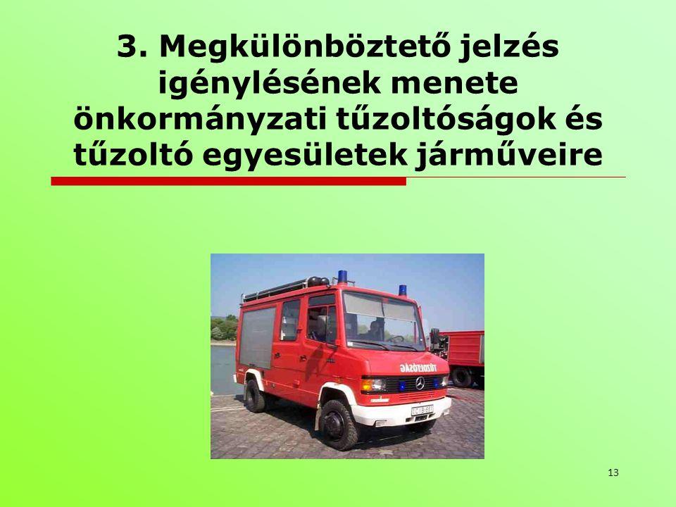 3. Megkülönböztető jelzés igénylésének menete önkormányzati tűzoltóságok és tűzoltó egyesületek járműveire 13