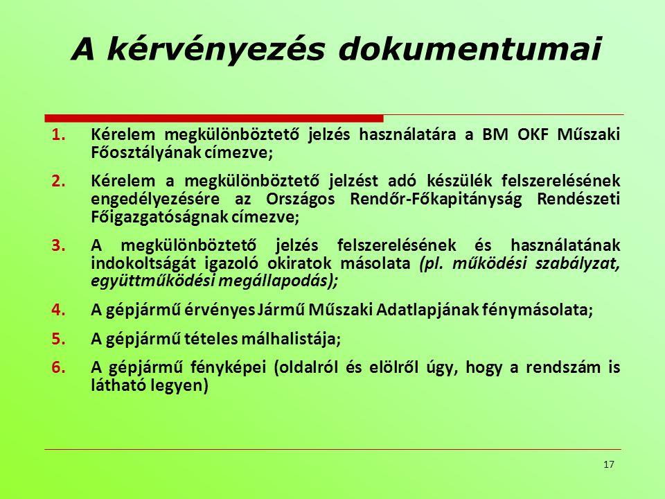 A kérvényezés dokumentumai 1.Kérelem megkülönböztető jelzés használatára a BM OKF Műszaki Főosztályának címezve; 2.Kérelem a megkülönböztető jelzést a