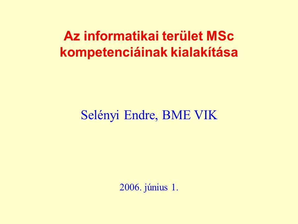 Az informatikai terület MSc kompetenciáinak kialakítása Selényi Endre, BME VIK 2006. június 1.