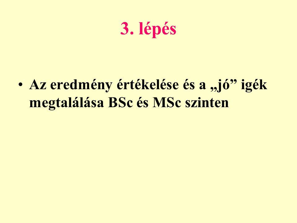 """3. lépés •Az eredmény értékelése és a """"jó igék megtalálása BSc és MSc szinten"""