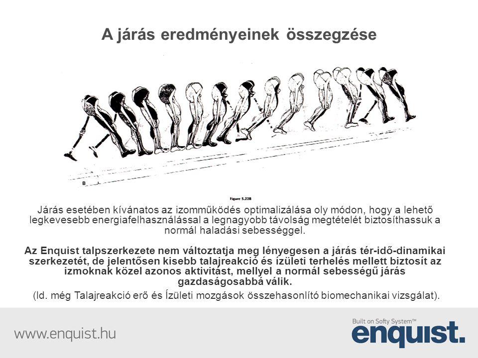 A járás eredményeinek összegzése Járás esetében kívánatos az izomműködés optimalizálása oly módon, hogy a lehető legkevesebb energiafelhasználással a