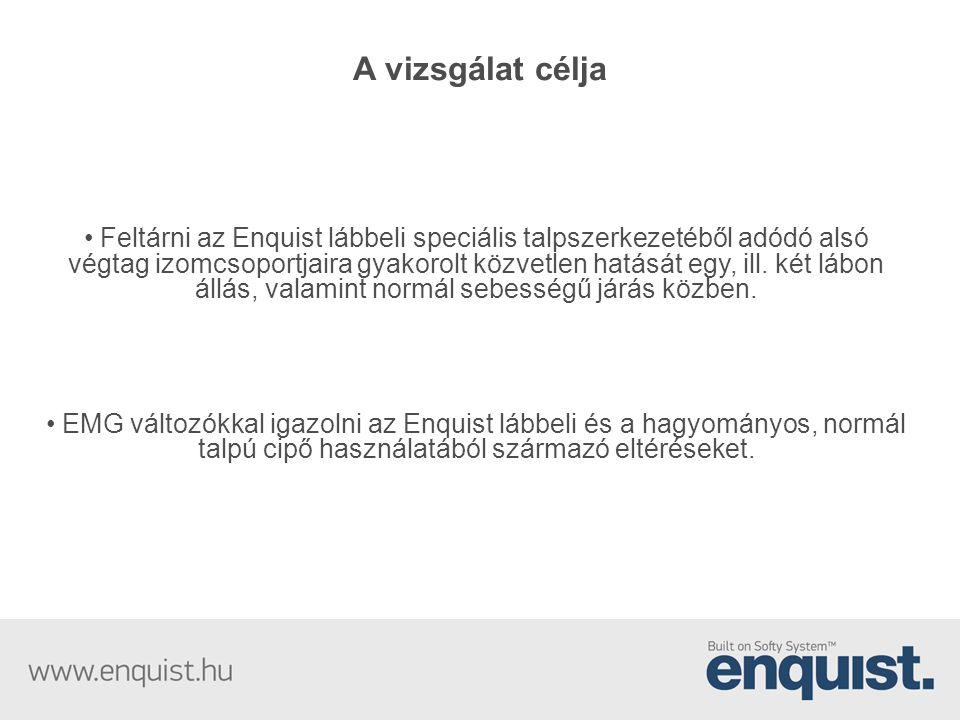 A vizsgálat célja • Feltárni az Enquist lábbeli speciális talpszerkezetéből adódó alsó végtag izomcsoportjaira gyakorolt közvetlen hatását egy, ill. k
