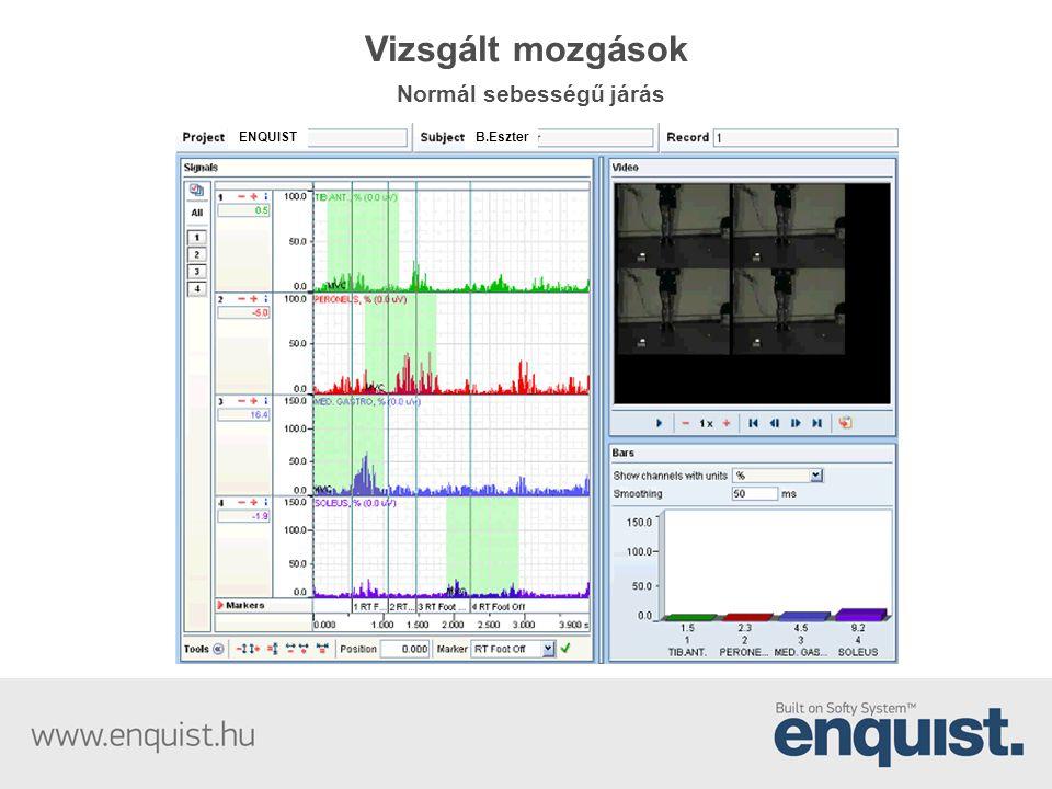Vizsgált mozgások Normál sebességű járás ENQUISTB.Eszter