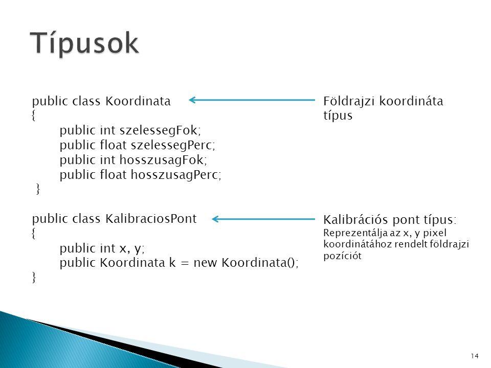 public class Koordinata { public int szelessegFok; public float szelessegPerc; public int hosszusagFok; public float hosszusagPerc; } public class Kal