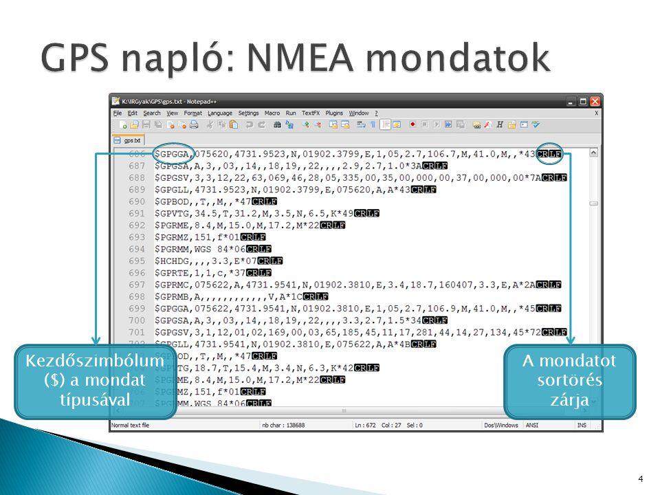 String readNMEA_GPGGA() Visszatér a fájlból kiolvasott aktuális GPGGA típusú mondattal Koordinata NMEA2Koordinata(String NMEA) A GPGGA mondatból kiolvassa a koordinátákat private void timer1_Tick(object sender, EventArgs e) Meghívja az előző két függvényt, majd a kapott értékek és a kalibrációs pontok alapján kiszámítja és megjeleníti az aktuális pozíciót a térképen 15