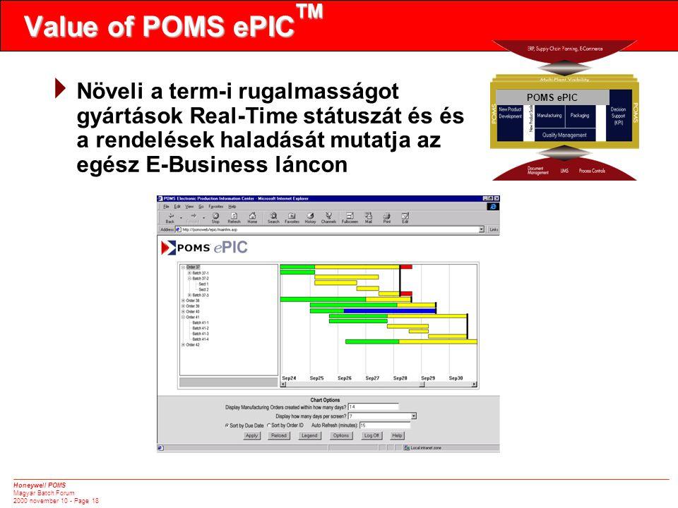 Honeywell POMS Magyar Batch Forum 2000 november 10 - Page 18 Value of POMS ePIC TM POMS ePIC  Növeli a term-i rugalmasságot gyártások Real-Time státuszát és és a rendelések haladását mutatja az egész E-Business láncon