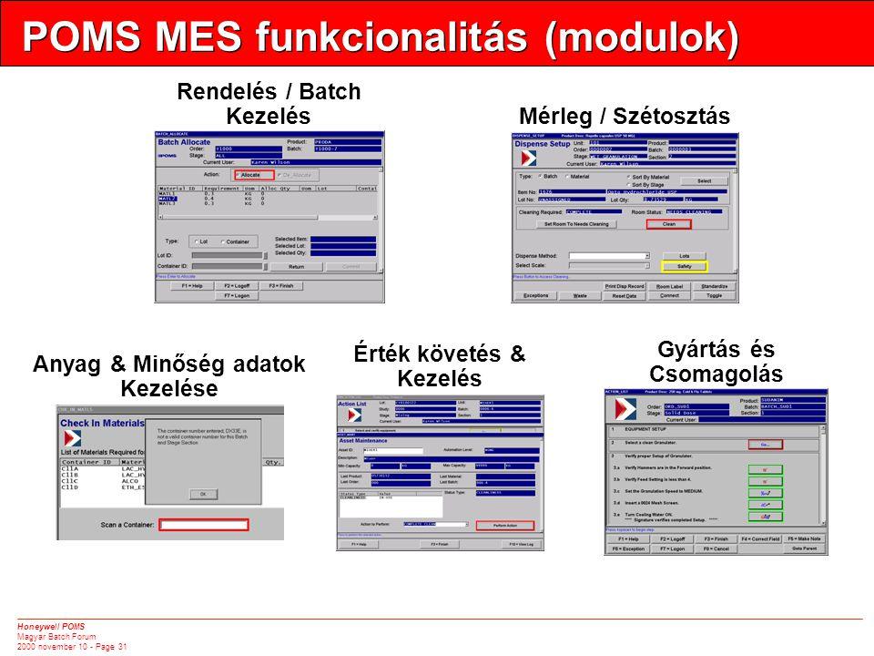 Honeywell POMS Magyar Batch Forum 2000 november 10 - Page 31 POMS MES funkcionalitás (modulok) Rendelés / Batch Kezelés Mérleg / Szétosztás Anyag & Minőség adatok Kezelése Gyártás és Csomagolás Érték követés & Kezelés