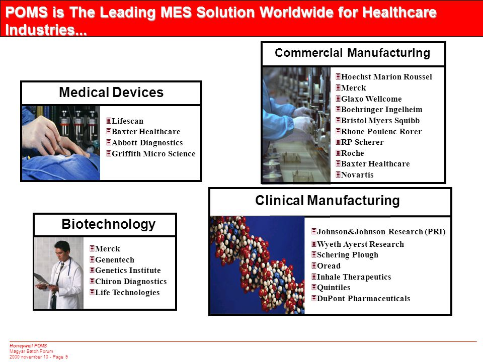 Honeywell POMS Magyar Batch Forum 2000 november 10 - Page 9 POMS is The Leading MES Solution Worldwide for Healthcare Industries...