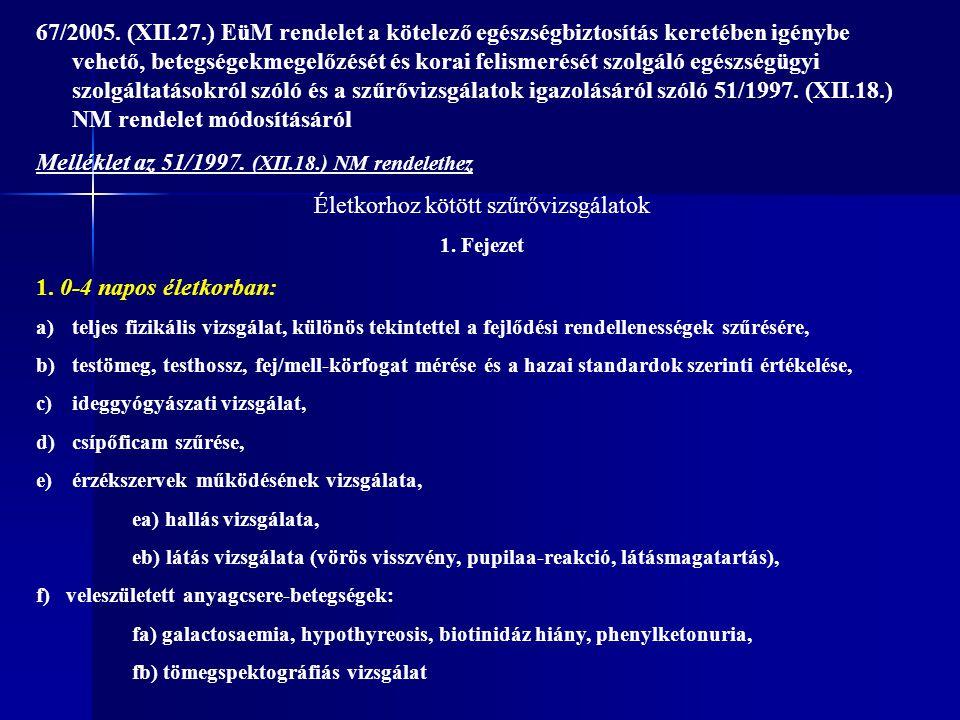 67/2005. (XII.27.) EüM rendelet a kötelező egészségbiztosítás keretében igénybe vehető, betegségekmegelőzését és korai felismerését szolgáló egészségü