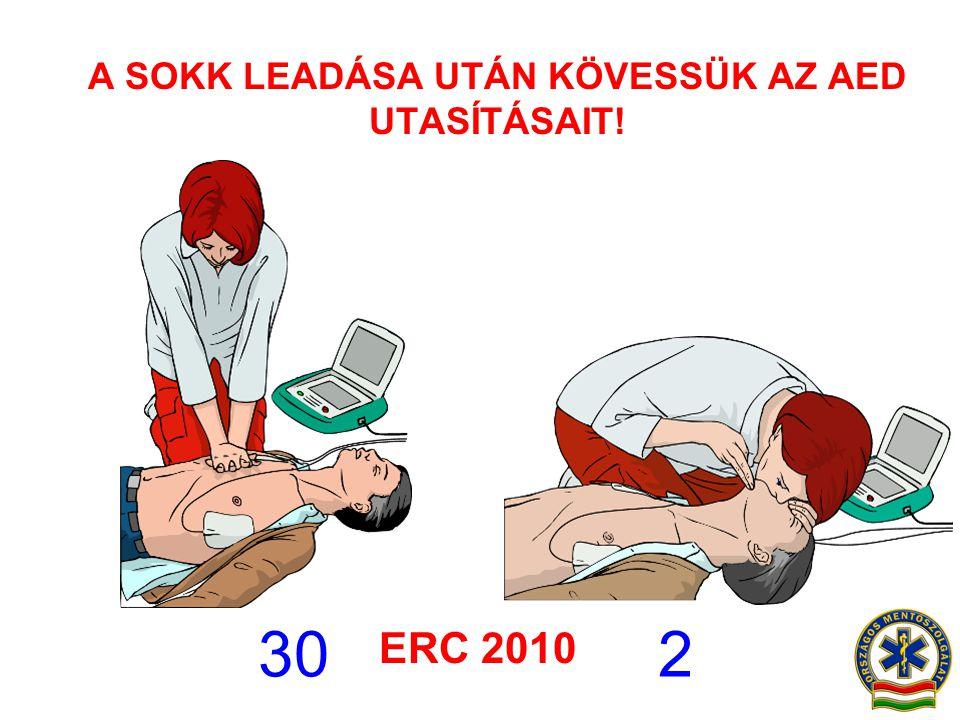 A SOKK LEADÁSA UTÁN KÖVESSÜK AZ AED UTASÍTÁSAIT! 30 2 ERC 2010